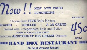 Old lunch special ad from the Band Box Restaurant, Philadelphia PA.