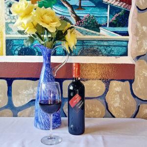 Greek Wine - Bottles and glasses of Nemea