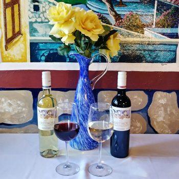 Greek Wine - Bottles and glasses of Kritikos wine