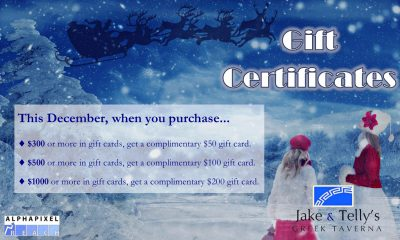 Jake and Telly's Gift certificates
