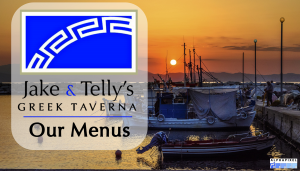 "Jake and Telly's, Our Menus: A photo of a harbor Jake and Telly's blue logo with the text ""Our Menus"""