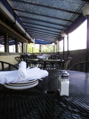 Jake and Telly's Patio Dining, tables under canopy