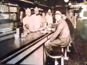 Black and white photo of staff and customers at the Band Box Restaurant, Philadelphia, PA