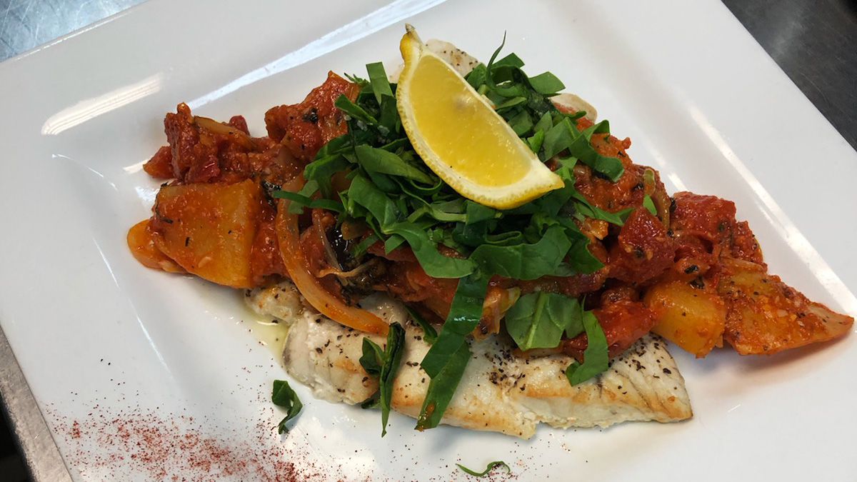 Greek Seafood Special, Oven baked Barramundi